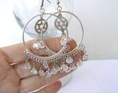 Hannukah Gifts. Star Of David Earrings. Bat Mitzvah Gift .Israeli Jewelry. Gipsy Jewish Earrings.Chandeller Hoop  Charm. Jerusalem Earrings.