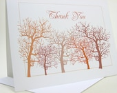 Thank You Note Card Fall Trees Blank Note Card Fall Wedding Thank You Rust Orange Brown Custom Personalized Card Autumn
