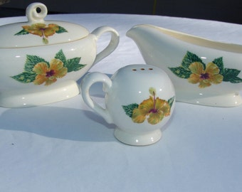 California Pottery Yellow Hibiscus Sugar Bowl, Lid and Creamer Set Santa Anita Ware