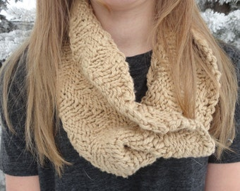 Hand Knit Chevron Rib Cowl Infinity Scarf in Very Soft Tan Color Cotton Light Brown Oat Color Women Summer Accessory