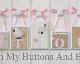 Baby Name Blocks . Nursery Name Blocks . Nursery Decor . Name Blocks . Wood Name Blocks . Lamb Theme . Pink Beige White . Charlotte