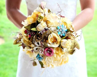 Rustic vintage brooch bouquet, Deposit only