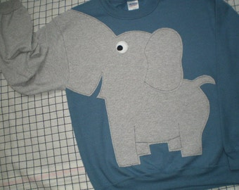 Steel blue Elephant sweatshirt, elephant shirt with trunk sleeve, elephant sweater, adult size xlarge only