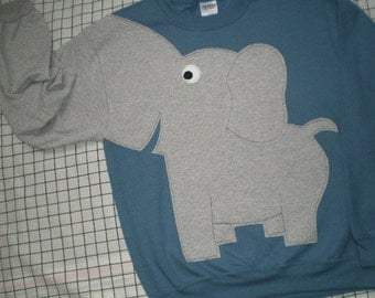 Steel blue Elephant sweatshirt, elephant shirt with trunk sleeve, elephant sweater, adult sizes