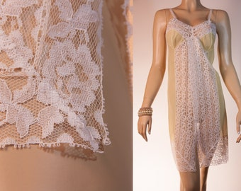Sensational really sheer lemon soft nylon and delicate ivory lace front panel detail 1950's vintage full slip petticoat combinaison - 2669