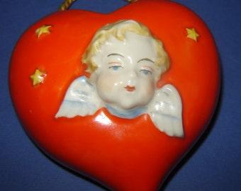 ANTIQUE old 1920 pORCELAIN Heart  Angel vase fIGURINE mARKED ARNO FISCHER Germany