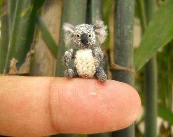 Miniature Koala Bear Amigurumi - Micro Crochet Bear Stuffed Animal - Made To Order