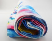 large linen table napkins: set of 4 vintage, hand-dyed in vibrant colors, blue, turquoise, yellow, magenta,