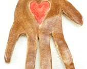 hand shaped tile, mosaic tile or finished paperweight, cocoa brown hand with red heart on palm,