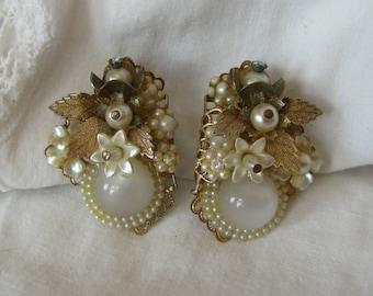 Seed Pearl Earrings, Moonglow Clip  Earrings, Wedding Prom, Haskell style