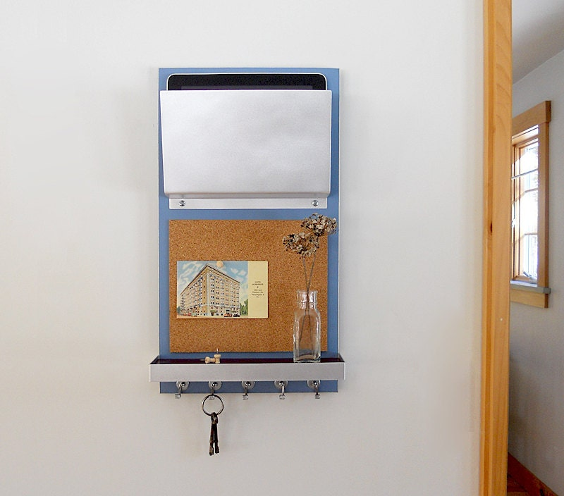 Modern message center storage unit with cork board key hooks for Cork board with hooks