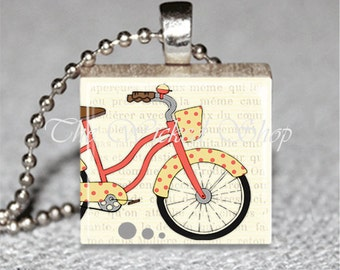 Scrabble Tile Pendant - Red and Yellow Cruiser Bike- Polka Dots - Retro - Free Silver Plated Ball Chain (BIKE3)