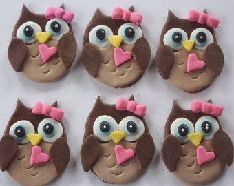 12 Fondant cupcake toppers--owls and bows