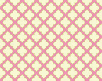 "1 Yard ""Trellis"" in Pink, Up Parasol, Heather Bailey, Quilting Cotton"