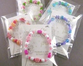 SALE: 5 Girls Bracelets in clear cello packaging, party favors/stocking stuffers