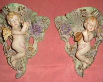 CHERUB Angels Figurines Floral Bisque Porcelain Wall Sconces Shelf Decor Pair Vintage