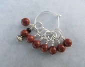 Wire knitting stitch markers- no snags.  Brown Sandstone beads.  Set of 8!