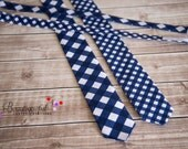 Little Man Ties - Baby Ties - Toddler Ties - Special Occasion - Photography Prop Tie & Bow Tie - Navy Tie - Blue Gingham Check Tie