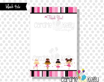 INSTAND DOWNLOAD Printable 4x6 Coordinating Ballerina Dance Party Birthday Invitation Thank You Note - Printable Digital File