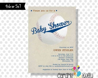 Printable Sports All Star Varsity Baseball Baby Shower Invitation - Digital File