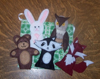 Woodland Animals Felt Finger Puppets for Imaginative Play and Learning