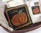 """Rug Hooking KIT, """"Pumpkin Mat"""", 8"""" x 8"""", J842, Halloween Hooked Rug Mat, Autumn Trivet Mat"""