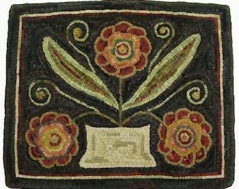 """Rug Hooking PATTERN, Flower Basket Trio, 18"""" x 22"""", J676, Primitive Floral Rug Design, Folk Art Flowers"""