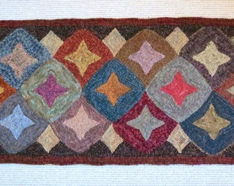 """Rug Hooking PATTERN, Geometric Stars 22"""" x 52"""", J777, Primitive Wide Cut Rug Hooking Pattern, Folk Art Geometric Pattern"""