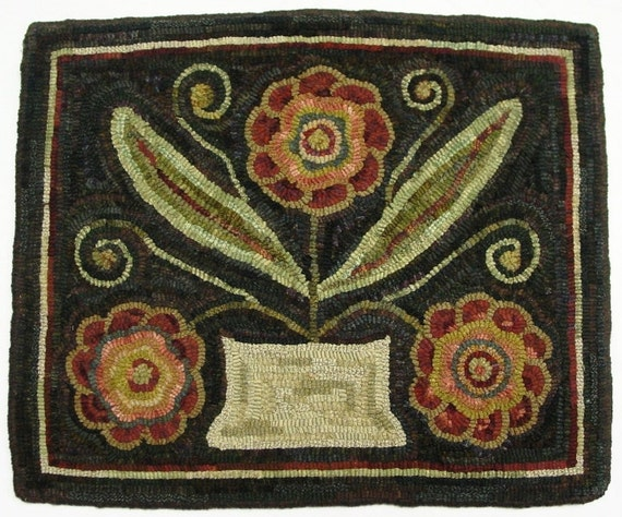 "Rug Hooking PATTERN, Flower Basket Trio, 18"" x 22"", J676"