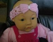 Crochet Headband Hairband with Bow - Pink