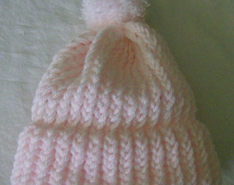 Warm Winter Hat With Pom Pom Toddler/Child Loom Knit Hat in Soft Pink