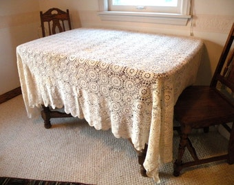 Ecru- Twin Bedspread or Tablecloth- Vintage HANDMADE- Cozy Kids' Attic Bedrooms- Guest Room Designs- Coffee Table Doily- Crochet Coverlet-