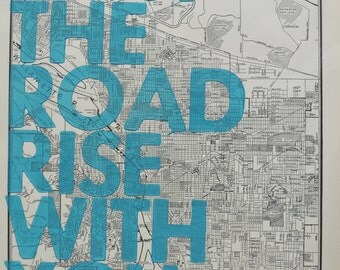 Portland /  May The Road Rise With You/ Letterpress Print on Antique Atlas Page