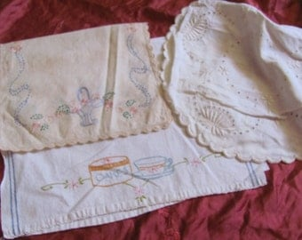Lot of 3 Assorted Antique Linen Embroidered Doilies Towels Craft Cutter