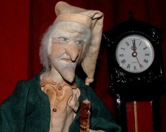 Primitive Ebenezer Scrooge Doll for Christmas by Primitive Art Dolls