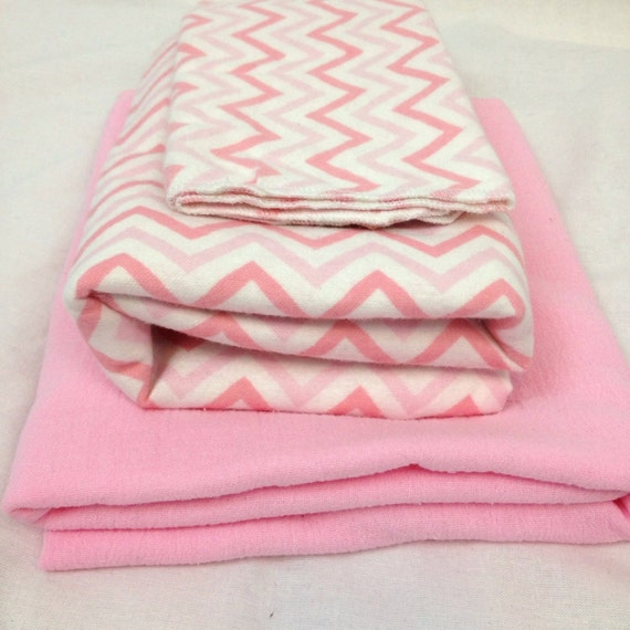 Baby Gift Pack Pink Chevron Blanket and Burp Cloth plus Pink Gauze Swaddle Blanket