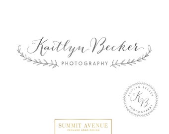 Pre Made Hand drawn Watercolor Laurel Logo Design by summit avenue - for photography or boutique