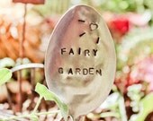 FREE SHIPPING Minature Fairy Garden Sign on a Vintage Upcylced Spoon