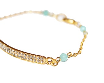 crystals bar bracelet with turquoise beads, gold bracelet,