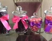 Candy bar buffet Jar with Candy 4 Jars Any color ribbon to Match your theme