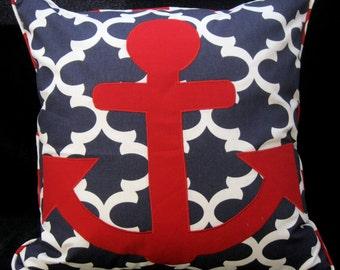 Anchors Away Premier Prints Fynn Navy Blue pillow cover  24 X 24