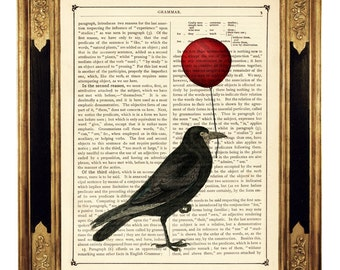 Halloween Raven Crow holding a red Balloon - Vintage Victorian Book Page Art Print Steampunk