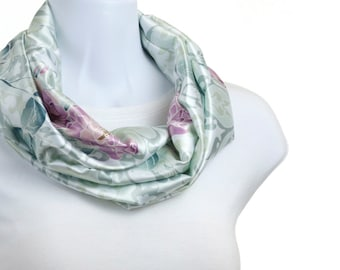 Elegant Infinity Scarf Soft minty Green and Teal with Lavender  Floral design ~ SK163-S5