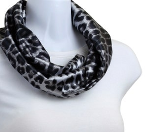 Classic Infinity Scarf - Steel Gray Blue - Animal Print ~ SK169-S5