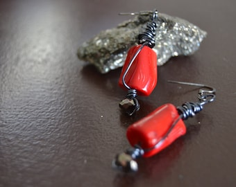 CORAL EARRINGS Black Wire Wrapped Genuine Coral Rustic Earrings Natural Coral