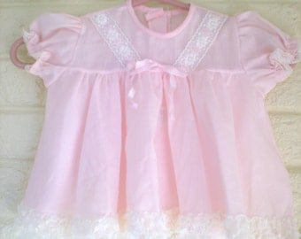 Pink Dress with Ribbon and Lace Trim, Size 0-3 months