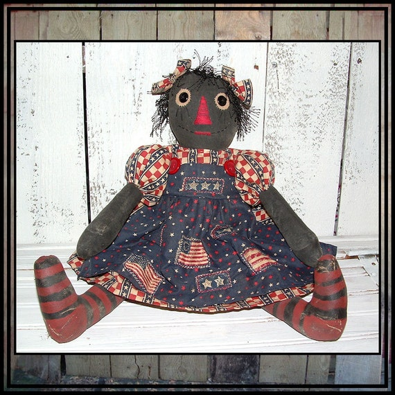 primitive hand embroidered painted black folk art cloth rag doll appliqued apron HAFAIR  OFG cord hair