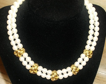 Choker Faux Pearls Gold Tone Vintage Necklace Bridal Jewelry Jewellery Accessory Wedding Art Nouveau Mid Century Gift Guide Women