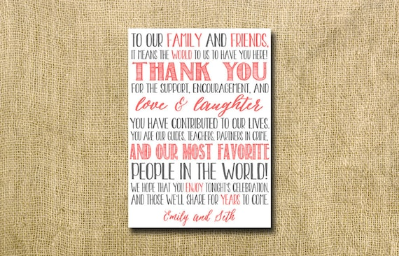 printable personalized thank you note for wedding guests - custom colors!