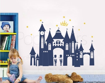 """Girls Wall Stickers Castle Princess Decals Baby Girls Kids Wall Graphics- Princess Castle(41"""" W) - Kids Room Decals Stickers pt0146"""